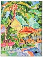 """32"""" x 24"""" Multicolor Umbrella and House Canvas in White Frame"""