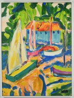 """32"""" x 24"""" Multicolor Boats and House Canvas in White Frame"""