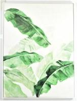 "40"" x 30"" Green Banana Leaves Canvas in White Frame"
