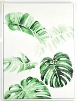 "40"" x 30"" Green Monstrea Leaves Canvas in White Frame"