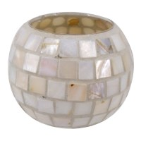 "4"" Round Mother Of Pearl Mosaic Votive Holder"