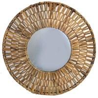 """31"""" Round Brown Woven Mirror"""