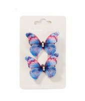 Set of 2 Blue and Pink Butterfly Hair Clips