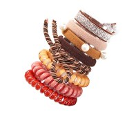 Set of 8 Assorted Earthtone Hair Ties