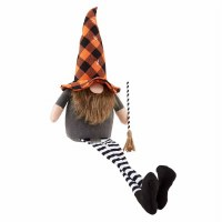 """27"""" Halloween Witch Gnome With Broom"""
