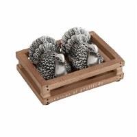 Antique Silver Turkey Salt & Pepper In Crate