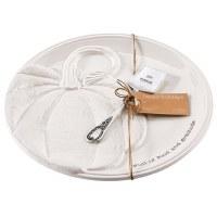 "12"" Round White Pumpkin Plate With Spatula"