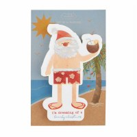Pack Of 20 Beach Santa Die Cut Beverage Napkins
