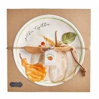 """10"""" Round Cream Pumpkin Dish With Spreader"""