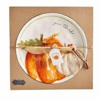 """10"""" Round Orange Pumpkin Dish With Spreader"""