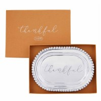 """10"""" Oval Silver Thankful Tray"""