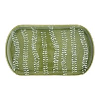 "9"" x 15"" Green Vine Ceramic Tray"
