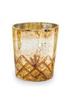 """2.75"""" Silver and Gold Criss-Cross Votive by Mud Pie"""