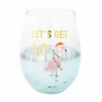 16 OZ Christmas Flamingo Wine Glass