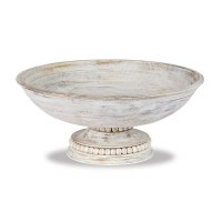"14"" Round White-Washed Wood Beaded Bowl"