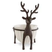 """7"""" Metal Deer With Bowl"""