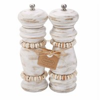 "7"" White-Washed Beaded Salt & Pepper Grinders"