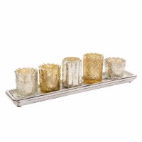 Set of 5 Silver and Gold Votives On Tray