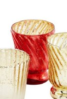 """2.75"""" Red Ribbed Votive by Mud Pie"""