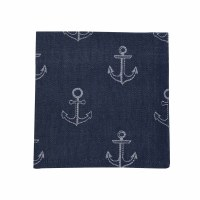 "18"" Square Navy Anchor Jaquard Cloth Napkin"