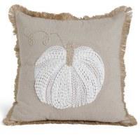 "19"" Square White Pumpkin Pillows"