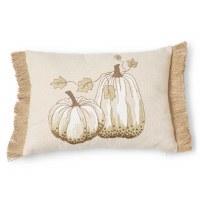 """13"""" x 18"""" Two White Pumpkins Pillow"""