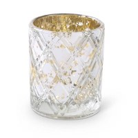"3.5"" Silver Etched Criss Cross Glass Votive"