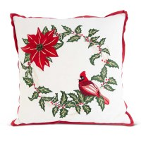 "18"" Square Cardinal Holly Pillow"