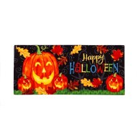"10"" x 22"" Halloween Pumpkin Doormat"