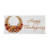 """10"""" x 22"""" Thanksgiving Wreath Doormat"""