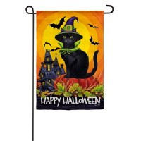 Mini Black Cat Happy Halloween Flag