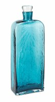 "17.5"" Blue Flat Bottle With Glass Stopper"