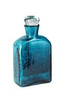 "9.5"" Blue Flat Bottle With Glass Stopper"