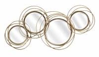 """41"""" Four Antique Gold Ring Mirror Plaque"""
