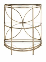 "28"" Gold Three Shelf Half Circle Console"