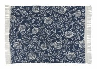 "55"" x 72"" Navy and White Floral Throw"