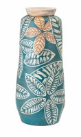 """29"""" Turquoise and Orange Leaves Jar With Lid"""