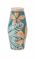 """26"""" Turquoise and Orange Tropical Leaves Jar With Lid"""