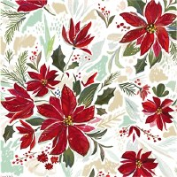Poinsettia Foil Lunch Napkin