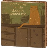 """5"""" Square Brown and Green Cat Spray Bottle Wood Block Wall Plaque"""
