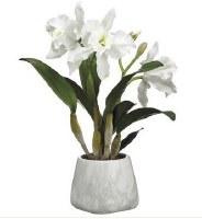 "18"" Faux Triple White Cattleya Orchid in Gray Cement Pot"