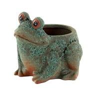 "4"" Verdigris Frog Pot"