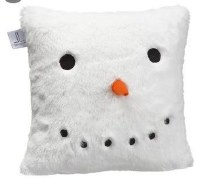 "11"" Square White Fur Snowman Decorative Pillow"