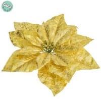 "11"" Faux Gold Metallic Crackle-Finish Clip On Poinsettia"