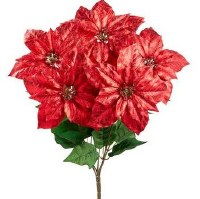 "21"" Faux Red Metallic Crackle-Finish Poinsettia Bush"