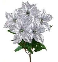 "21"" Faux Silver Metallic Crackle-Finish Poinsettia Bush"