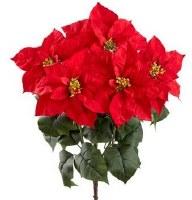 """23"""" Faux Red Velvet Poinsettia Bush"""