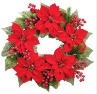 """24"""" Faux Red Velvet Poinsettia, Berry, and Pine Wreath"""