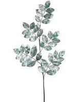 """29"""" Faux Teal Glitter Ficus Leaf Spray"""