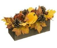 "16"" Faux Velvet Pumpkin, Rosehip, and Pine Cone Arrangement in Wood Planter"